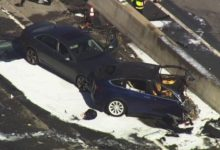 Tesla Battery Covered In Flames After Deadly Crash