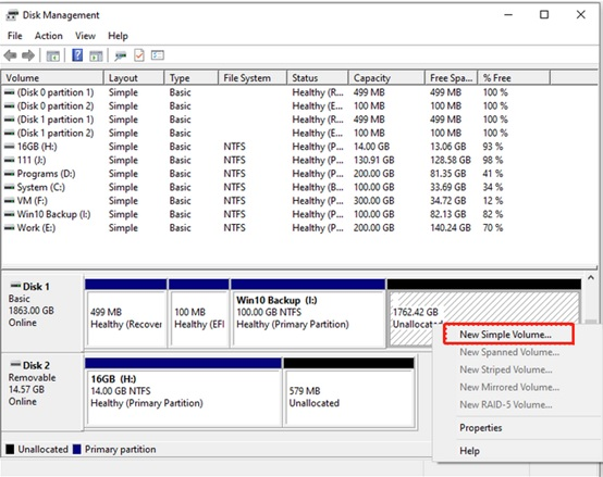 How to partition a hard drive in Windows 10